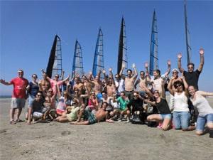 Bedrijfsuitje op het strand blokarten Eventmaker